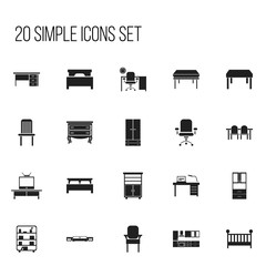 Set Of 20 Editable Furniture Icons. Includes Symbols Such As Mattress, Cooking Furnishings, Child Cot And More. Can Be Used For Web, Mobile, UI And Infographic Design.