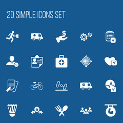 Set Of 20 Editable Complicated Icons. Includes Symbols Such As Police Vehicle, Cutlery, Soul And More. Can Be Used For Web, Mobile, UI And Infographic Design.