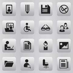 Set Of 16 Editable Bureau Icons. Includes Symbols Such As Floppy, Telephone, Page And More. Can Be Used For Web, Mobile, UI And Infographic Design.