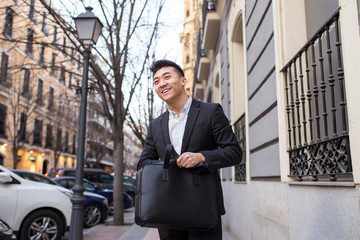 cheerful chinese businessman