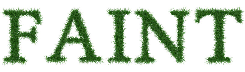 Faint - 3D rendering fresh Grass letters isolated on whhite background.