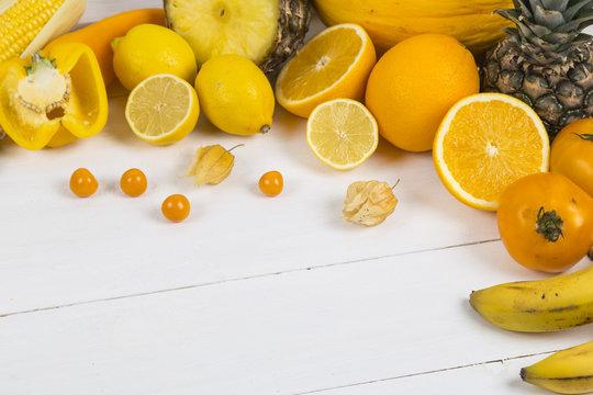 Orange and yellow fruit and veg