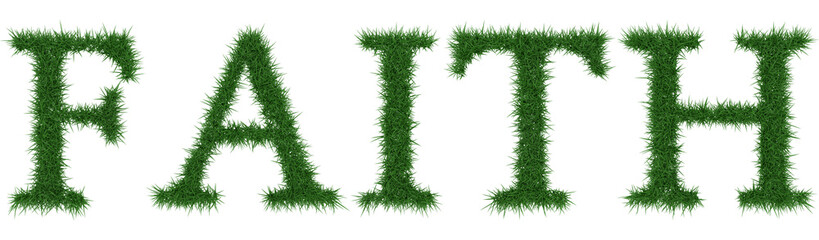Faith - 3D rendering fresh Grass letters isolated on whhite background.