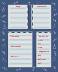 """Set of planners """"To-Do List"""" for organizing a day. Vector illustration"""