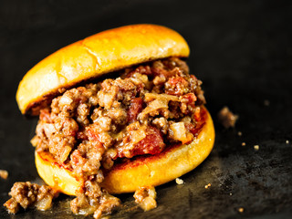 rustic american sloppy joe burger