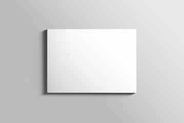 Zelfklevend Fotobehang Donkergrijs Blank A4 photorealistic landscape brochure mockup on light grey background.