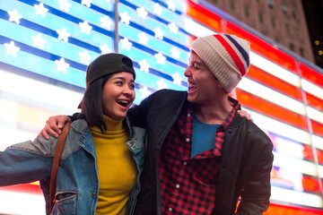 Beautiful couple in Times Square