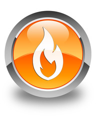 Fire flame icon glossy orange round button