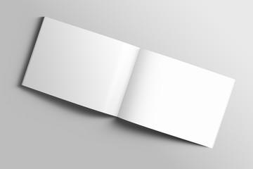Foto auf Acrylglas Dunkelgrau Blank A4 photorealistic landscape brochure mockup on light grey background.