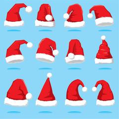 Big set of Santa hats. Santa Claus red hat silhouette. Santa hat vector illustration