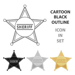 Sheriff icon cartoon. Singe western icon from the wild west cartoon.