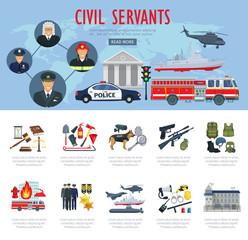 Vector poster civil servants judge police aviation