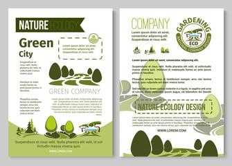 Vector brochure for nature eco gardening