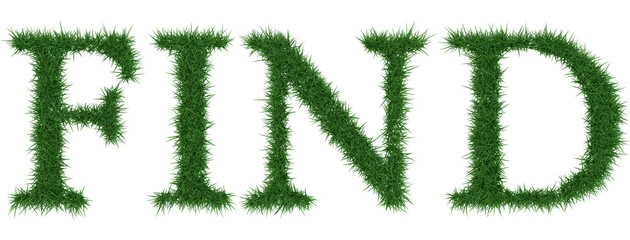 Find - 3D rendering fresh Grass letters isolated on whhite background.
