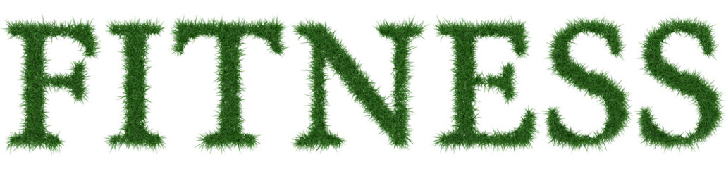 Fitness - 3D rendering fresh Grass letters isolated on whhite background.