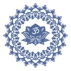Om symbol with hand drawn mandala and Lotus. Set of oriental ornaments for greeting card, invitation, yoga poster, coloring book.