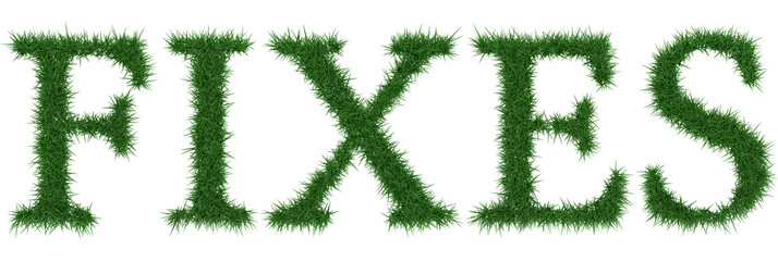 Fixes - 3D rendering fresh Grass letters isolated on whhite background.