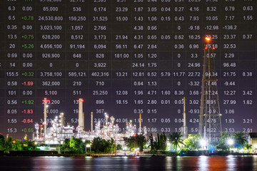 Oil refinery plant, Crude oil stock price index, energy index. Double exposure