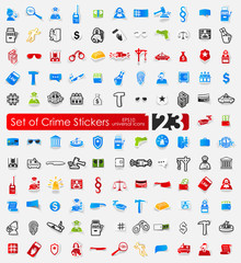 Set of crime stickers