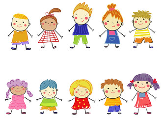 Group of sketch children