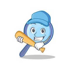 Playing baseball magnifying glass character cartoon