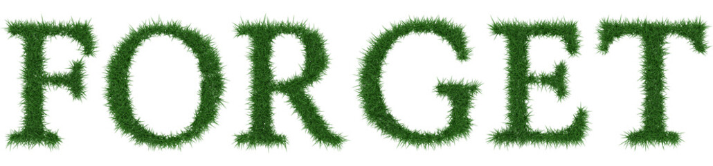 Forget - 3D rendering fresh Grass letters isolated on whhite background.