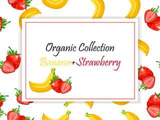 Vector square label, strawberry and banana jam or juice