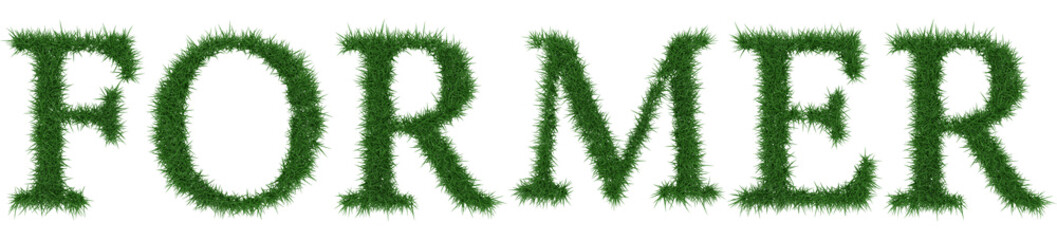 Former - 3D rendering fresh Grass letters isolated on whhite background.
