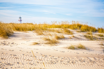 Beach with lighthouse in the background