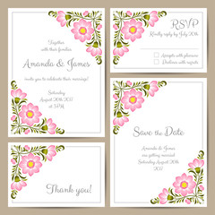 Set of wedding cards with hand drawn flowers. Vector illustration