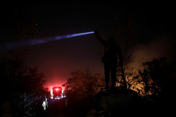 A volunteer works to put out a forest fire in the northern area of Brasilia's National Park, in Brasilia