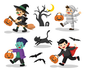 Set of Happy Halloween. Funny children in colorful costumes and a cat. zombie, mummy, witch, Dracula.