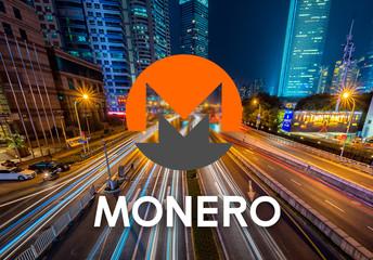 Concept of  Monero,  a Cryptocurrency blockchain, Digital money