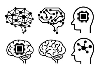 AI (artificial intelligence) icon set.