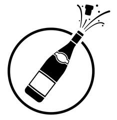 champagne bottle icon concept