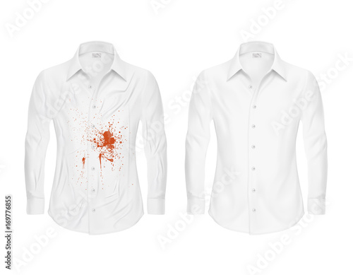 Set Of Vector Ilrations A White Shirt With Red Stain From Ketchup Blood