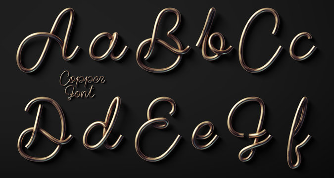 3d render of copper font with letters made of metal wire