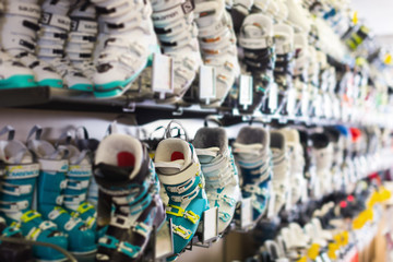 Boots for active skiing selling in sport shop
