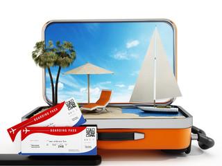 Holiday island inside half open travel suitcase. 3D illustration