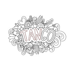 Tango Zen Tangle. Doodle flowers and text for dance.
