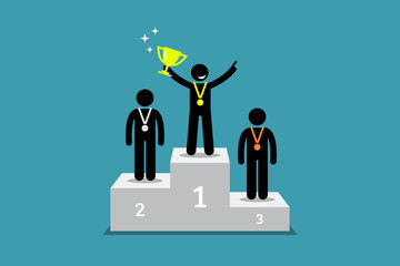 Champion standing on a podium with first and second runner up. Vector artwork depicts champion, winner, triumph, and greatest.