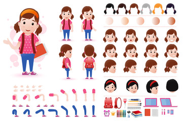 Little Girl Student Character Creation Kit Template with Different Facial Expressions, Hair Colors, Body Parts and Accessories. Vector Illustration.