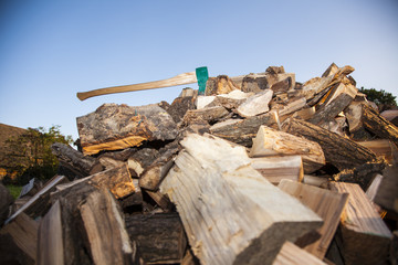heap of chopped wood, look from the bottom