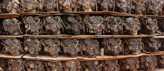 Scrapped Automotive Engines for Sale in a Warehouse