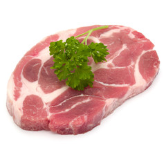 Poster Pierre, Sable Raw pork neck chop meat with parsley herb leaves garnish isolated on white background cutout