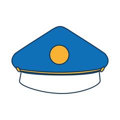 police cap icon over white background colorful design vector illustration