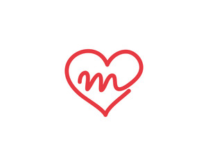 Lowercase Letter m and Heart Logo 1