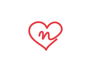 Lowercase Letter n and Heart Logo 1