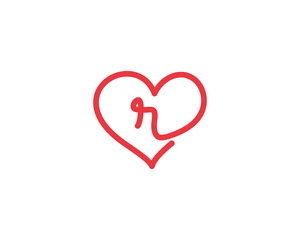 Lowercase Letter r and Heart Logo 1