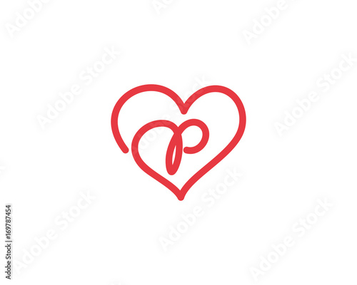 Lowercase Letter P And Heart Logo 1